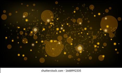 Abstrakter Hintergrund mit Bokeh-Lichteffekt. Nachthelle Textur golden oder silberfarben glitter. Festliche Vektorillustration funkelnde helle magische Staubpartikel für Weihnachtskonzept.