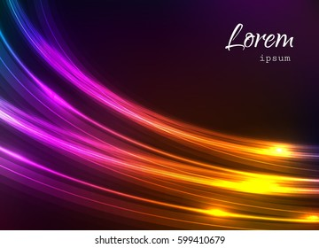 Abstract background with bright colorful lines, neon glow effect, multicolor banner design, vector illustration