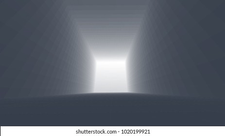 Abstract background of bright glowing particles and paths. vector illustration