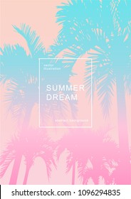 Abstract background with bright gradient palm leaves and trees shapes composition. Dynamic miami summer background. Eps10 vector illustration.