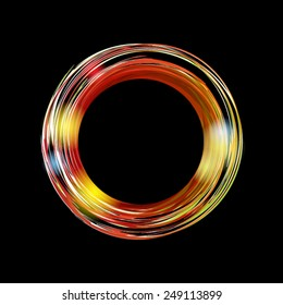 Abstract background with bright orange circle on black background. Vector banner with place for your text.