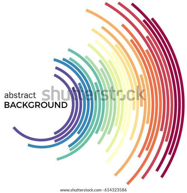 明るい虹のカラフルな線の抽象的な背景。白い背景にテキスト用の色と円。