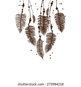 Abstract background with brown feathers. Vector EPS 10