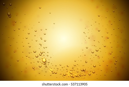 Abstract background with bubbles in yellow tone, 3d illustration