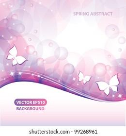 abstract background with butterflies and stars, vector illustration