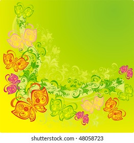 Abstract background with butterfly and floral ornament, vector
