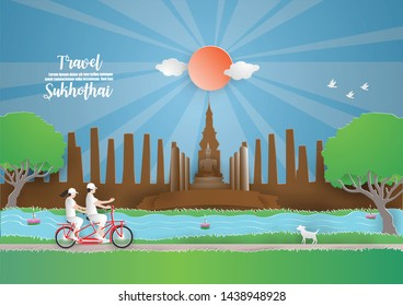 Abstract background card with Couple Travelling by bicycle in SUKHOTHAI thailand into  temple in the Sukhothai Historical Park.paper craft Design travel and Vector and illustration