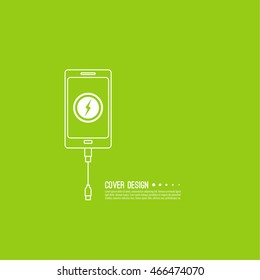 Abstract background with charge mobile phones. usb cable is connected to the smartphone.