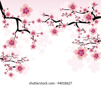 фотообои abstract background with cherry blossom
