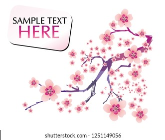 Abstract background with cherry blossom and text. Floral pattern in mosaic. Spring flowers decorative branch for surface design.