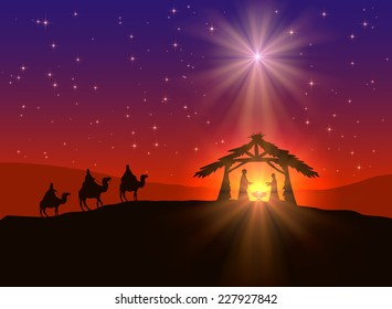 Abstract background, Christian Christmas scene with shining star in the sky, birth of Jesus, and wise men on camels, illustration. This is EPS10 file. Illustration contains a transparency blends.
