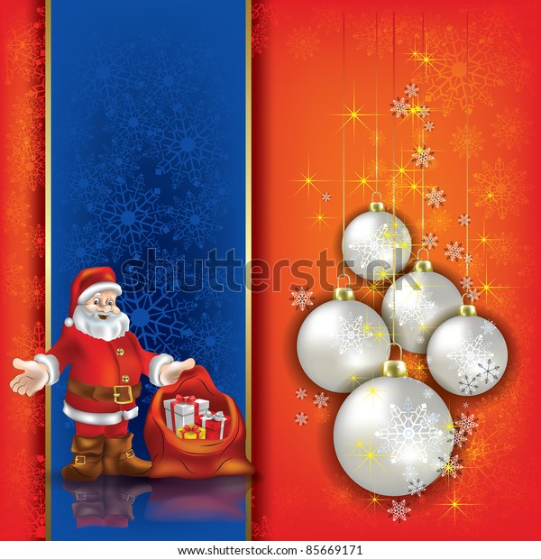 Abstract background with Christmas decorations and Santa