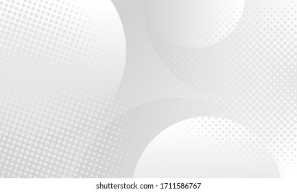 Abstract background with circles and halftone dots pattern. Grey and white backdrop