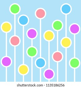 Abstract background with circles and white lines. Abstract meadow with flowers. Abstract balloons. Abstract crowd. Vector illustration with blue background.