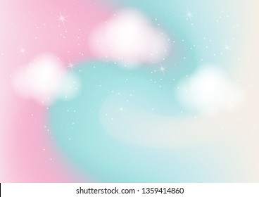 Abstract background with cloud ,sky and star in pastel color.Vector illustration.