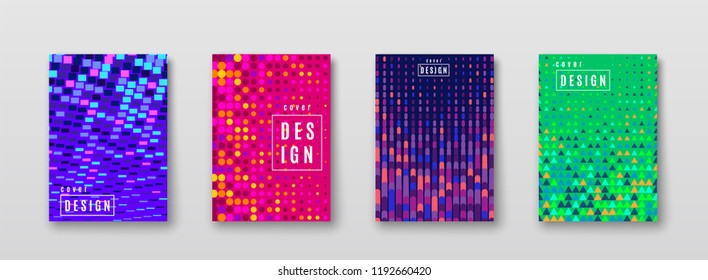 Abstract background with color elements halftone texture. Bright pattern poster design. Trend minimal cover. Blue, pink, yellow, green placard template. Vector illustration