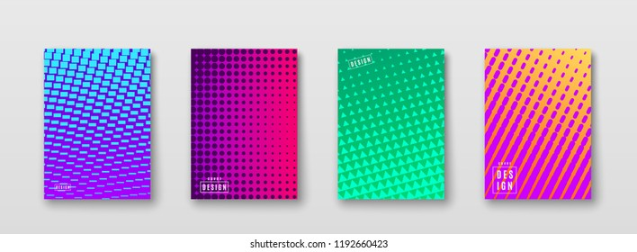 Abstract background with color elements halftone texture. Bright geometric gradient pattern poster design. Trend minimal cover. Blue, pink, yellow, green placard template. Vector illustration.