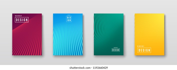 Abstract background with color line texture. Bright pattern poster design with stripe. Trend minimal geometric gradient cover. Blue, pink, yellow, green placard template. Vector illustration