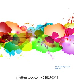 Abstract background from color splashes, vector