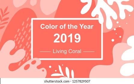 Abstract background. Color of the year 2019. Living Coral