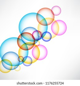 Abstract background with colored circles, illusion of soap bubbles. Element of design