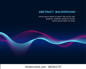 Abstract background with a colored dynamic waves, lines and particles. Vector illustration.