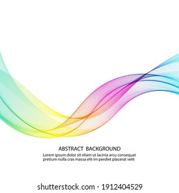Abstract background of colored smooth lines transparent wave, design element
