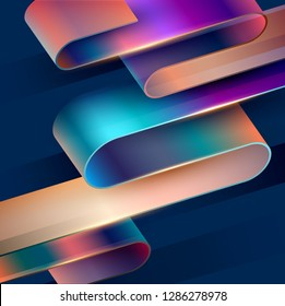 Abstract  background.  Colorful 3D tape on dark background