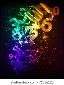 Abstract background with colorful numbers