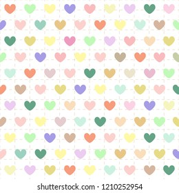 Abstract background with colorful pastel heart shape on beige wallpaper with brown dash line grid. Vector art pattern design with copy space in cute concept look so sweet for love theme on Valentine.