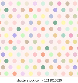 Abstract background with colorful pastel polka dot on beige wallpaper. Vector art pattern with copy space in minimal style and cute concept look so sweet for love theme on Valentine and all design.