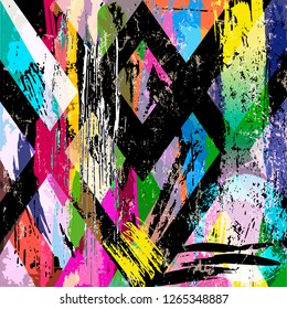 abstract background composition, with strokes, splashes and geometric lines