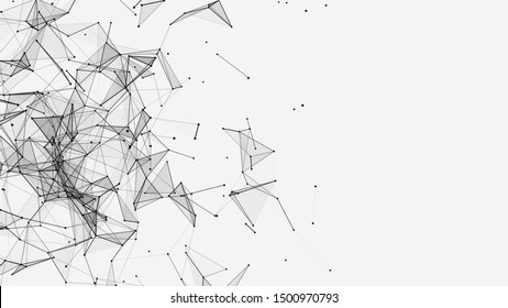 Abstract background with connecting dots and lines. Network connection structure. Plexus effect. 3d rendering.