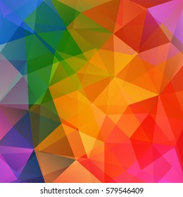 Abstract background consisting of coloful triangles. Geometric design for business presentations or web template banner flyer. Vector illustration. Rainbow-colored.