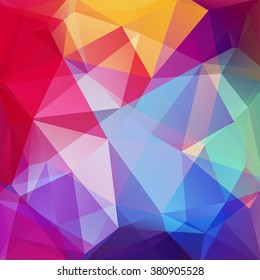 Abstract background consisting of triangles. Geometric design for business presentations or web template banner flyer. Vector illustration. Rainbow-colored.