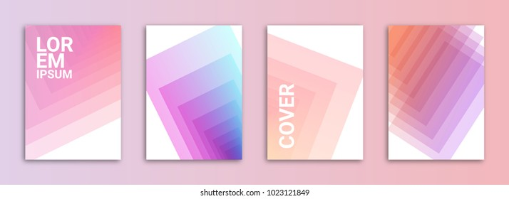 Abstract Background Cover / Flyer / Poster / Album Template Bundle - Feminine Purple / Pink Geometric Gradient Shapes