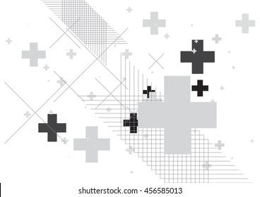 Abstract background created with plus sign in grey. Vector illustration.