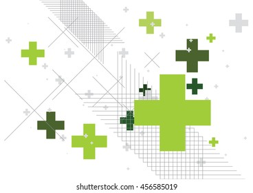 Abstract background created with plus sign in green. Vector illustration.