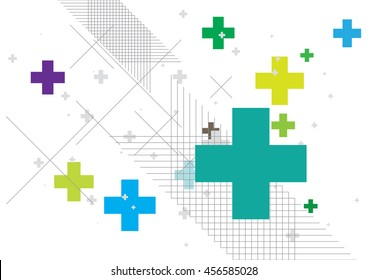 Abstract background created with plus sign in various colors. Vector illustration.
