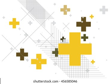 Abstract background created with plus sign in yellow. Vector illustration.