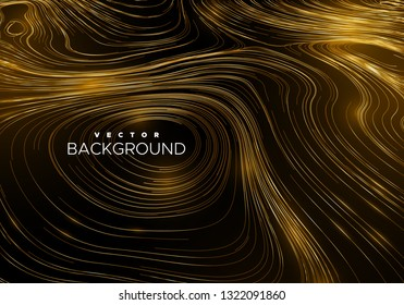 Abstract background with curled linear golden pattern. Vector sketch illustration of diffusion flowing curly lines. Applicable for cover, banner, poster, design.