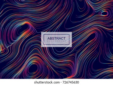 Abstract background with curled linear rainbow pattern. Vector sketch illustration of diffusion flowing curled lines. Spectrum color leak background. Applicable for cover, banner, poster design.