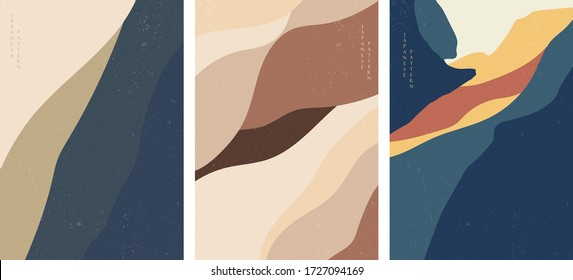 Abstract background with curve elements vector. Landscape template with grunge texture.