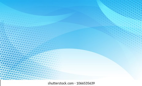 Abstract background of curved lines, curves and halftone dots in light blue colors