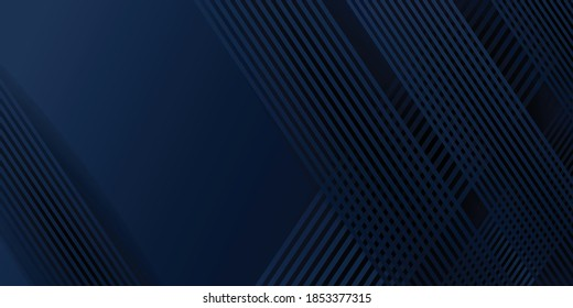 Abstract background dark blue for presentation design. Abstract bright blue color strip pattern luxury dark blue with geometric elements. Vector illustration design. Cool strip wave poster element