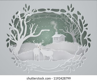 Abstract background with deers couple in  forest and Cottage on the hill in winter season,paper craft style and illustration