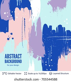 Abstract background design. Colorful brush strokes pattern and text block.