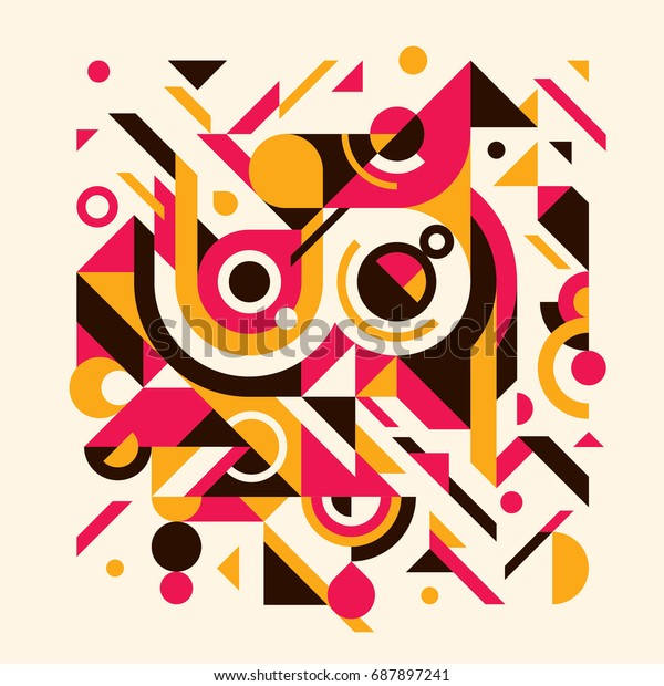 Abstract background design with composition made of various geometric shapes. Vector illustration.