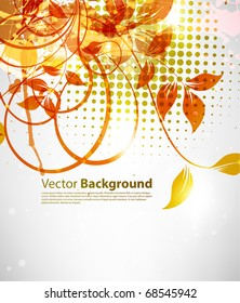 Abstract background for design with leafs and flowers. eps 10
