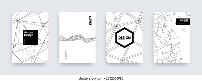 Abstract background design, set of striped covers, vector illustration